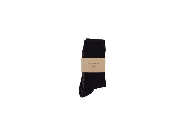 Monk & Anne sokken zwart met gouden glitterstreep